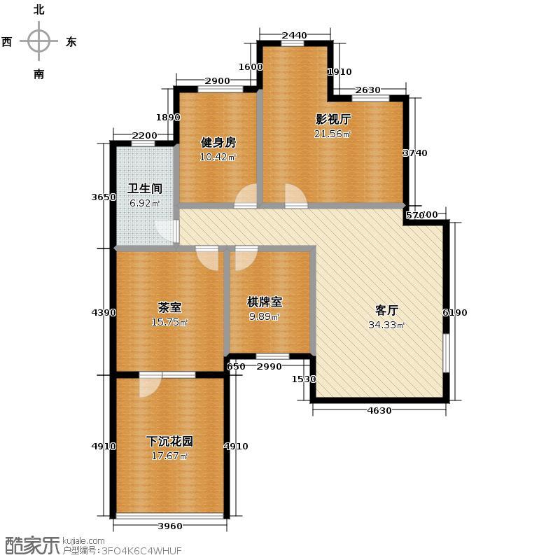博荣水立方116.74㎡1-1-2地下室户型10室