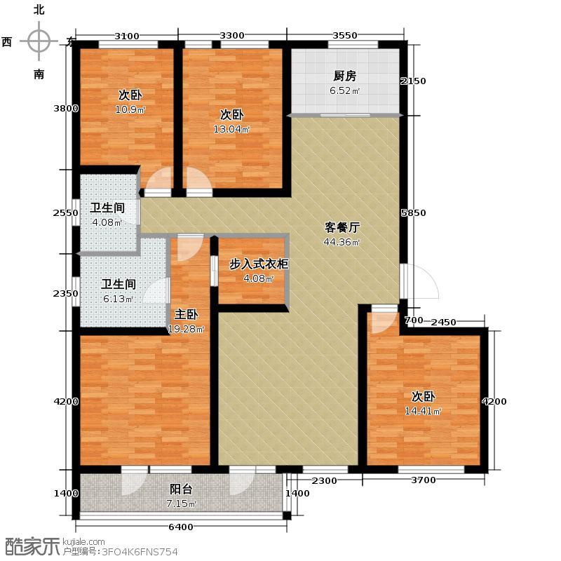 朗诗田园绿郡165.00㎡7号楼十层边套户型4室2厅2卫
