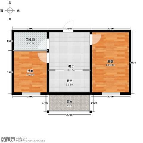 迅驰净月大学城2室1厅1卫1厨47.81㎡户型图