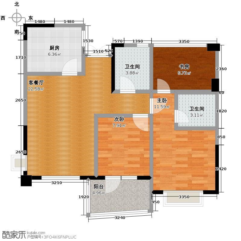 天鸿香榭里89.00㎡10号楼B边套户型3室2厅2卫