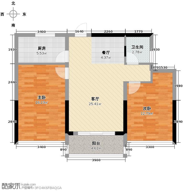 雅戈尔御西湖90.00㎡D2户型2室2厅1卫