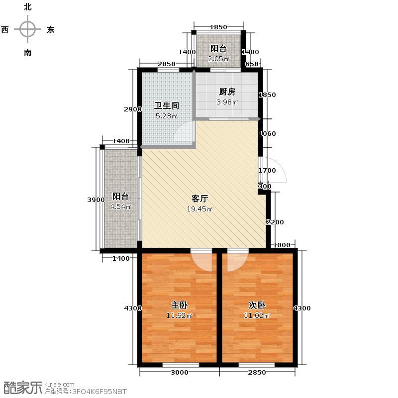 迅驰净月大学城80.60㎡8、13、15号楼c2户型2室1厅1卫1厨