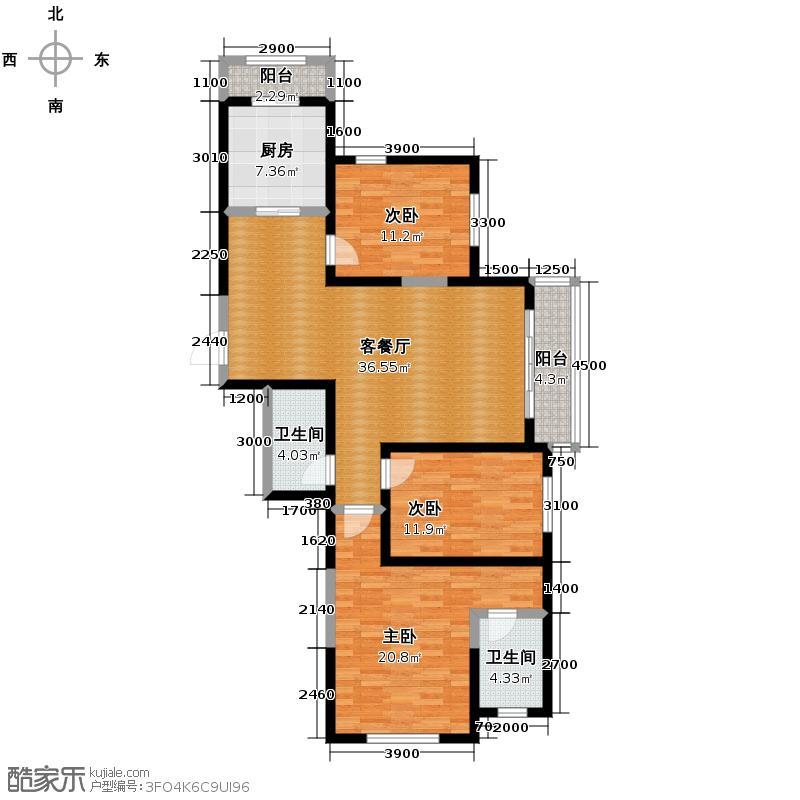 碧桂园凤凰城143.58㎡高层户型3室2厅2卫
