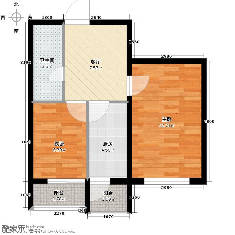 丽江苑50.00㎡二期户型2室1厅1卫