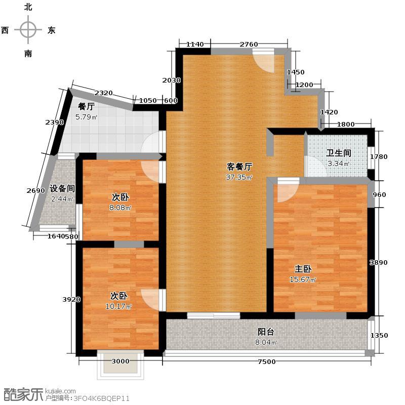 郑和国际广场104.99㎡B2-1户型10室