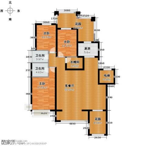 天山熙湖3室2厅2卫0厨138.91㎡户型图