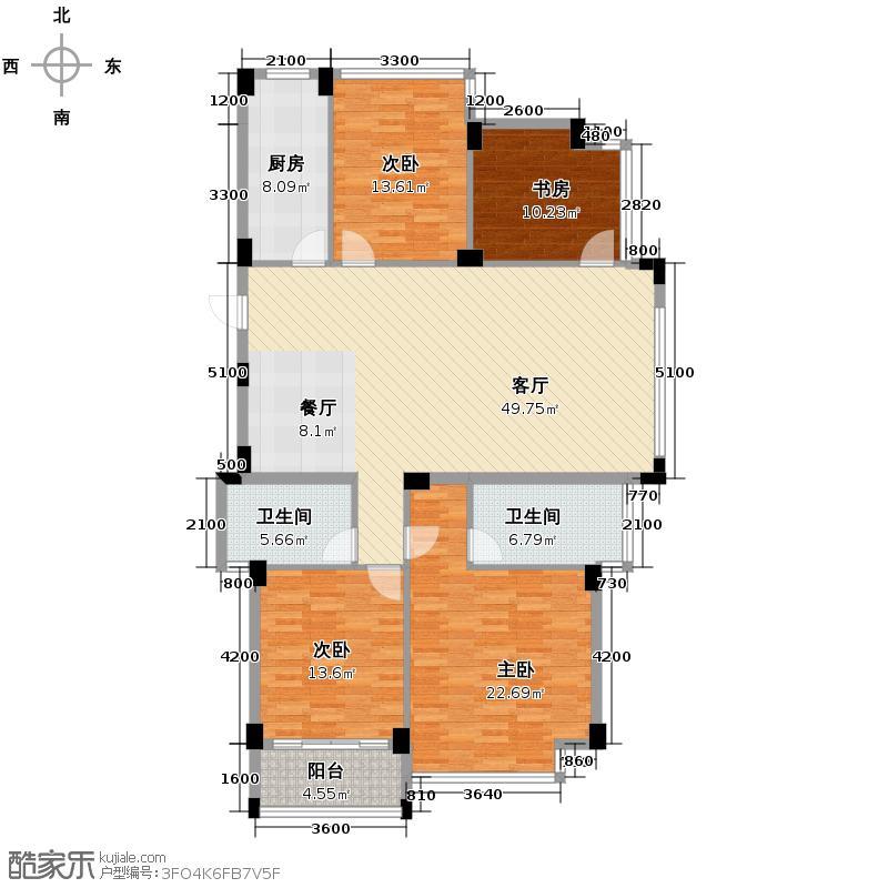 雅戈尔御西湖140.00㎡E奇数层户型4室2厅2卫