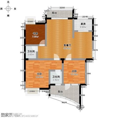 水墨兰庭3室1厅2卫1厨127.00㎡户型图