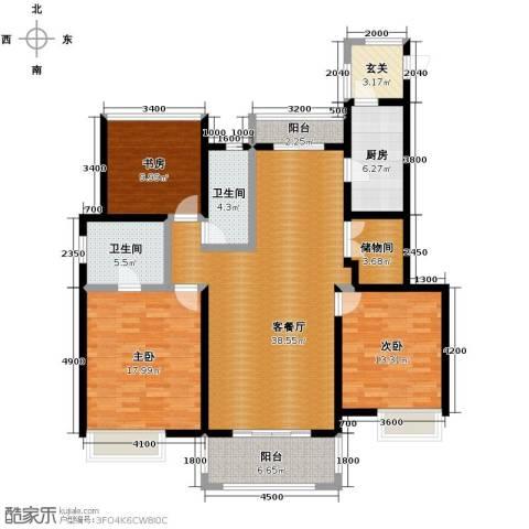 富力十号3室2厅2卫0厨126.00㎡户型图