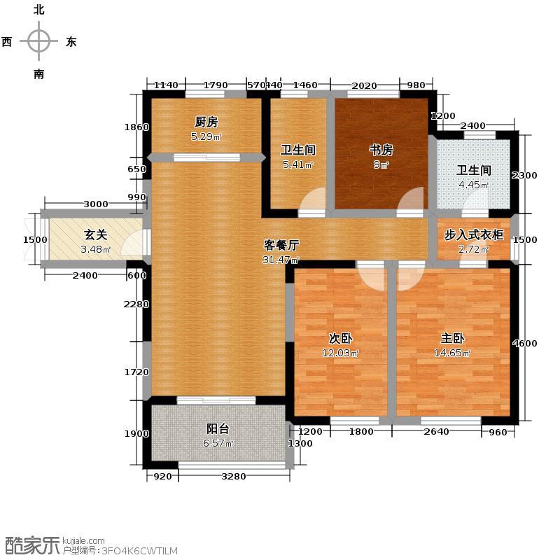 天正天御溪岸127.00㎡F-1户型3室2厅2卫