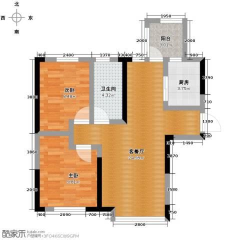 益田枫露2室2厅1卫0厨64.08㎡户型图