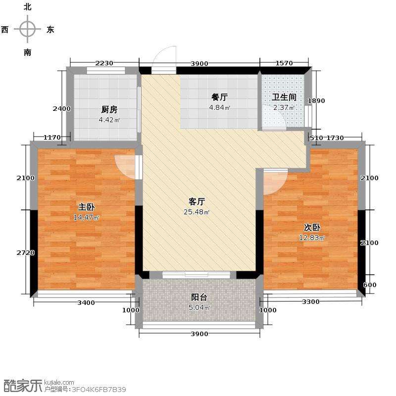 雅戈尔御西湖90.00㎡D1户型2室2厅1卫