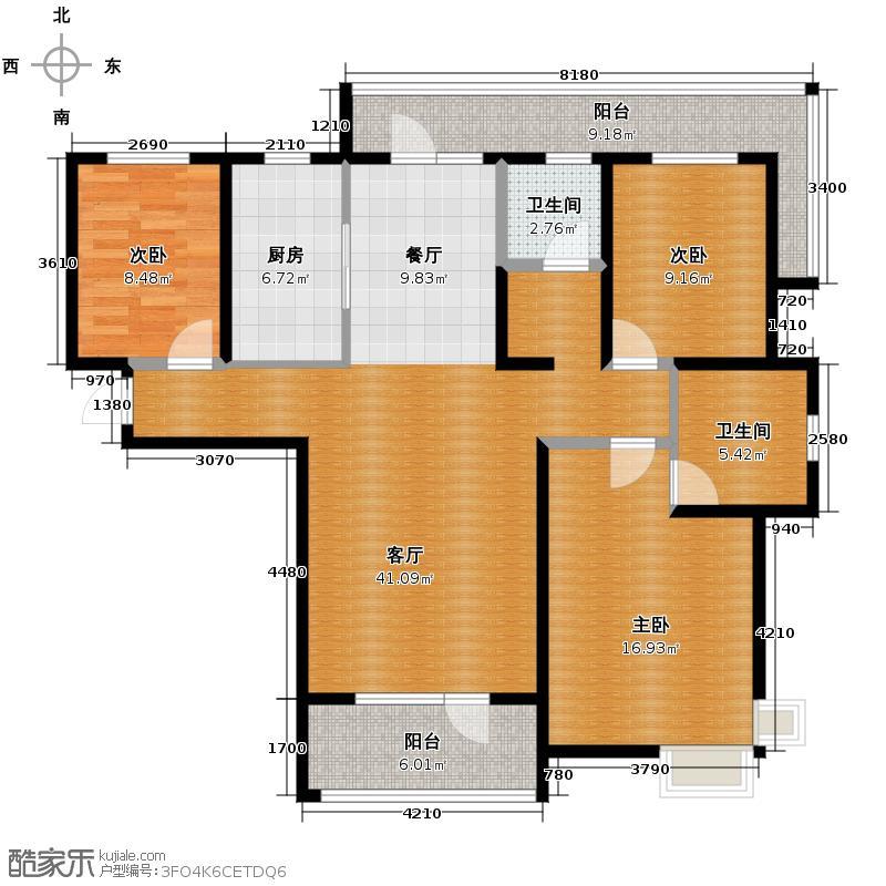 首创国际城135.65㎡3和4号楼D户型3室2厅2卫