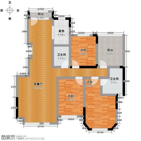 金地锦城3室1厅2卫1厨125.00㎡户型图