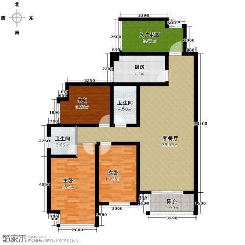 坤泰新界3室1厅2卫1厨152.00㎡户型图