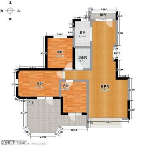 金地锦城3室1厅1卫1厨100.00㎡户型图