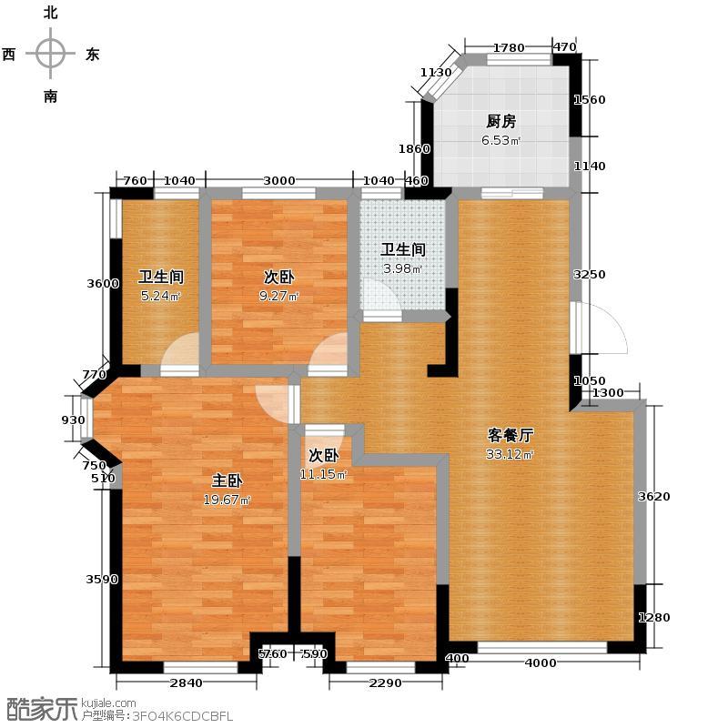 金地锦城115.00㎡标准层街区多层户型3室1厅2卫1厨
