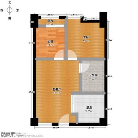 好时光2室1厅1卫1厨67.00㎡户型图