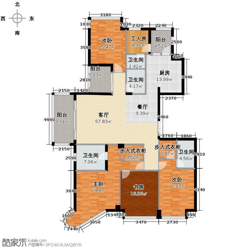欣盛东方福邸230.00㎡6号楼西边套户型4室1厅4卫