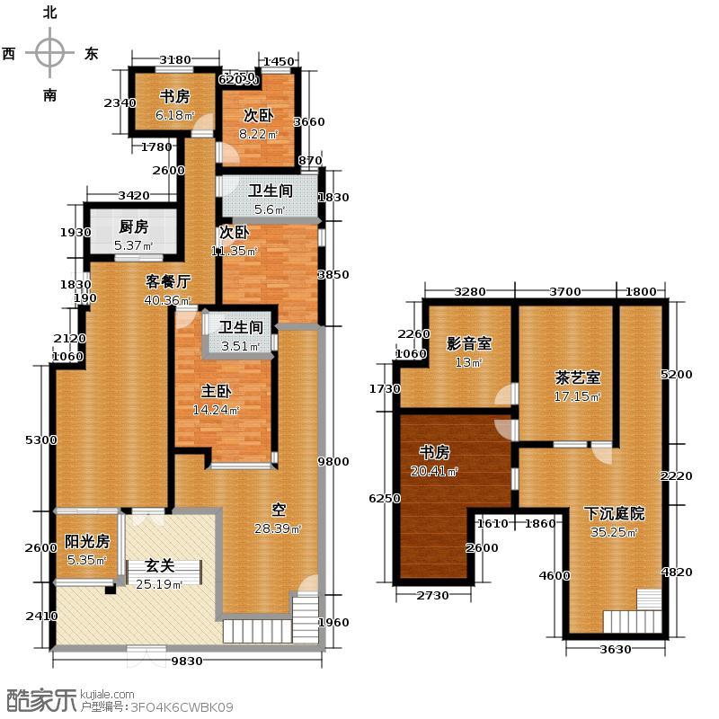 融侨天骏花园洋房1F一层负一层户型5室1厅2卫1厨