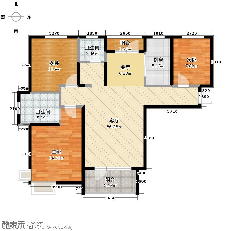 首创国际城121.20㎡3和4号楼A户型10室