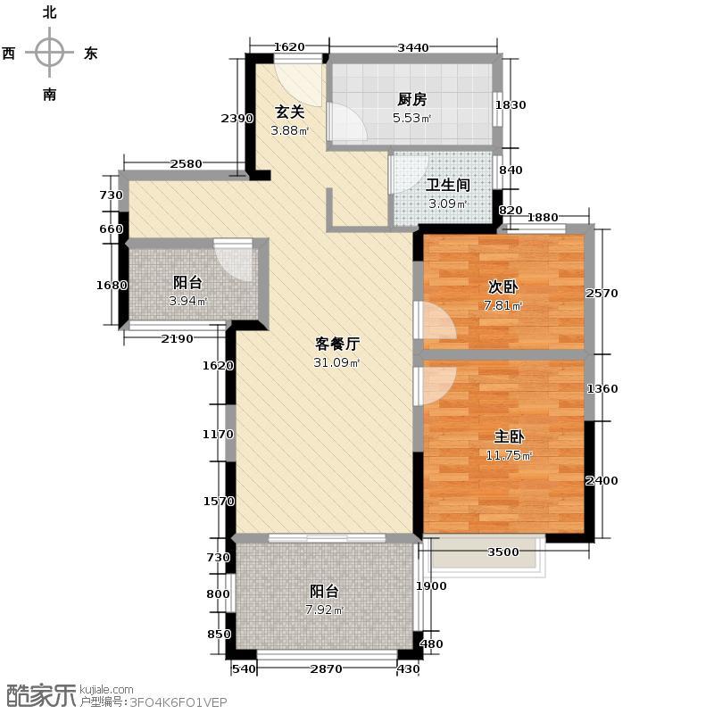金地自在城88.30㎡D-6\\\'a鹭影洲17-18号楼户型2室1厅1卫1厨