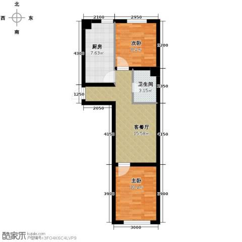 博信双E港2室1厅1卫1厨65.00㎡户型图