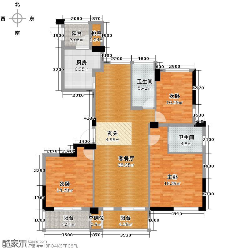 滨江万家星城137.00㎡二期8幢1单元01室偶数层R2户型3室2厅2卫