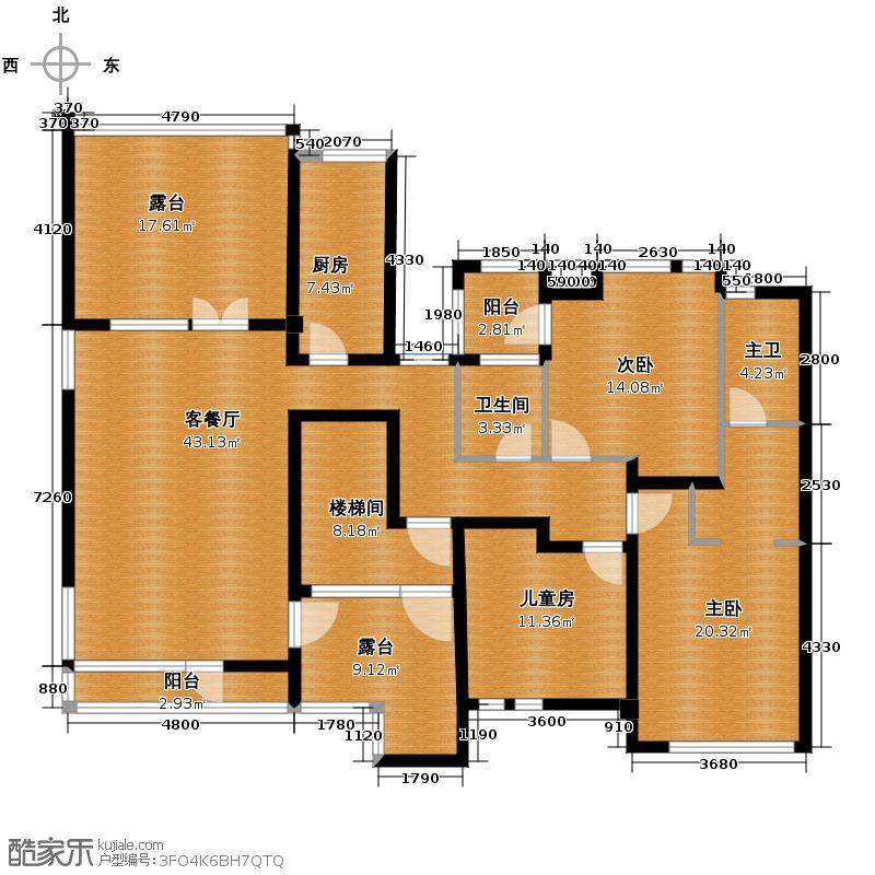 �灞半岛146.00㎡DG叠拼别墅西户5层户型3室2厅2卫