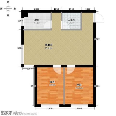 博信双E港2室1厅1卫1厨80.00㎡户型图
