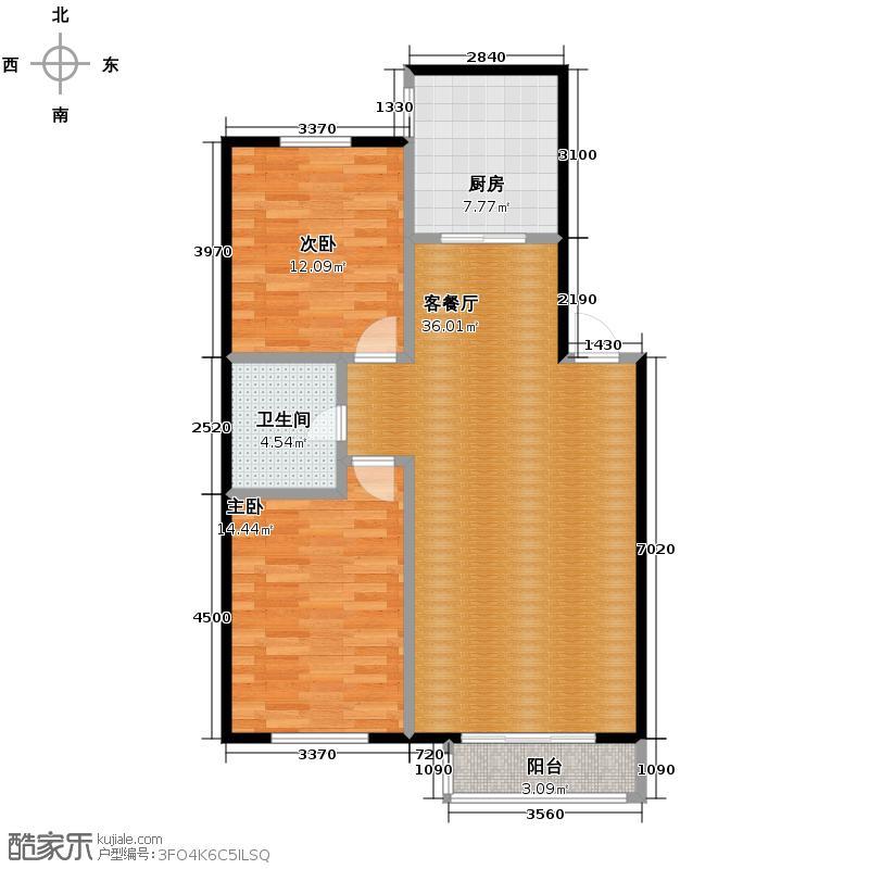 塞纳家园93.50㎡户型2室1厅1卫1厨