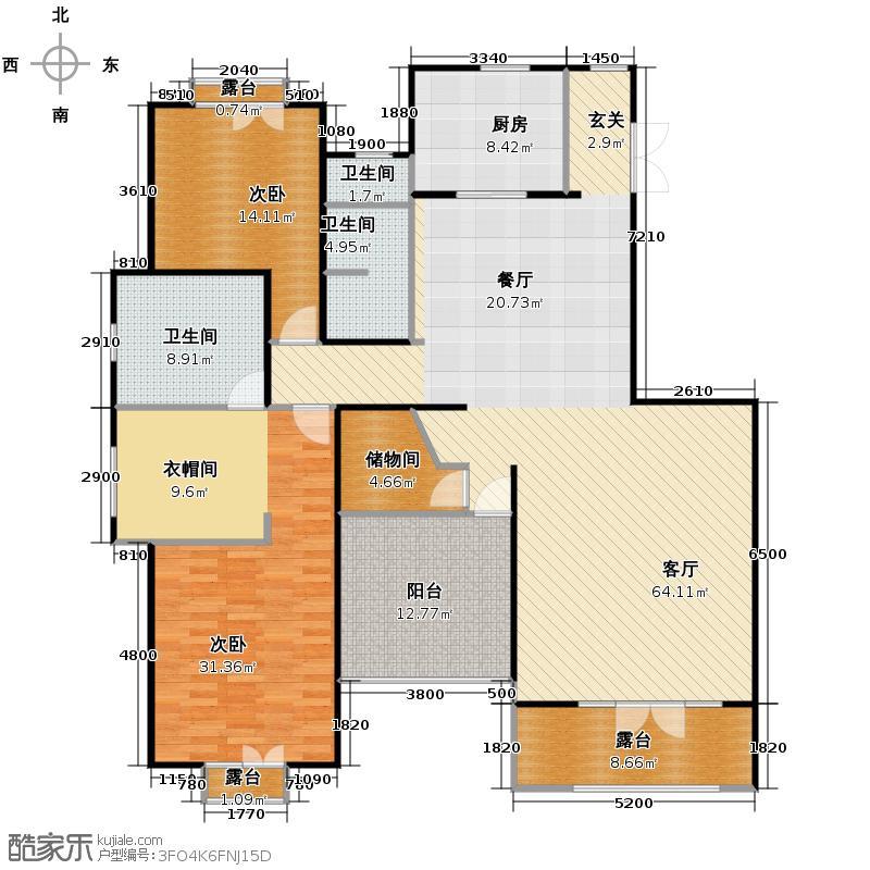 华盛达阅城280.00㎡1、3、5号楼顶跃边套A7下层户型4室2厅3卫