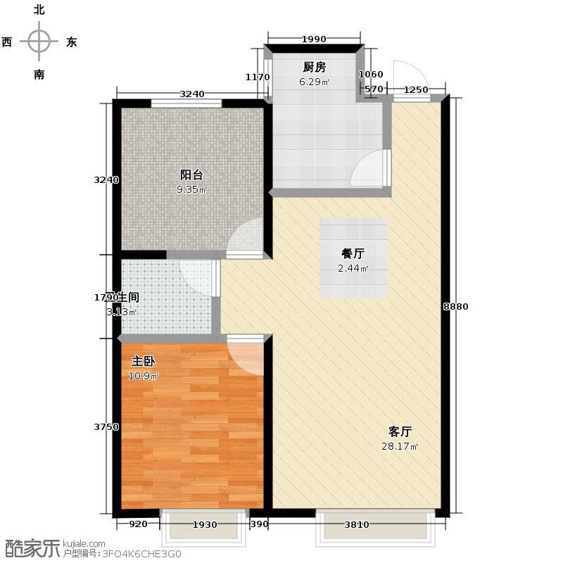 金地名京79.00㎡E户型2室2厅1卫