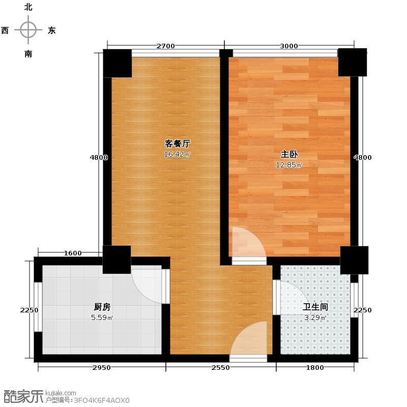 蓝光COCO金沙2期49.00㎡D1户型1室2厅1卫