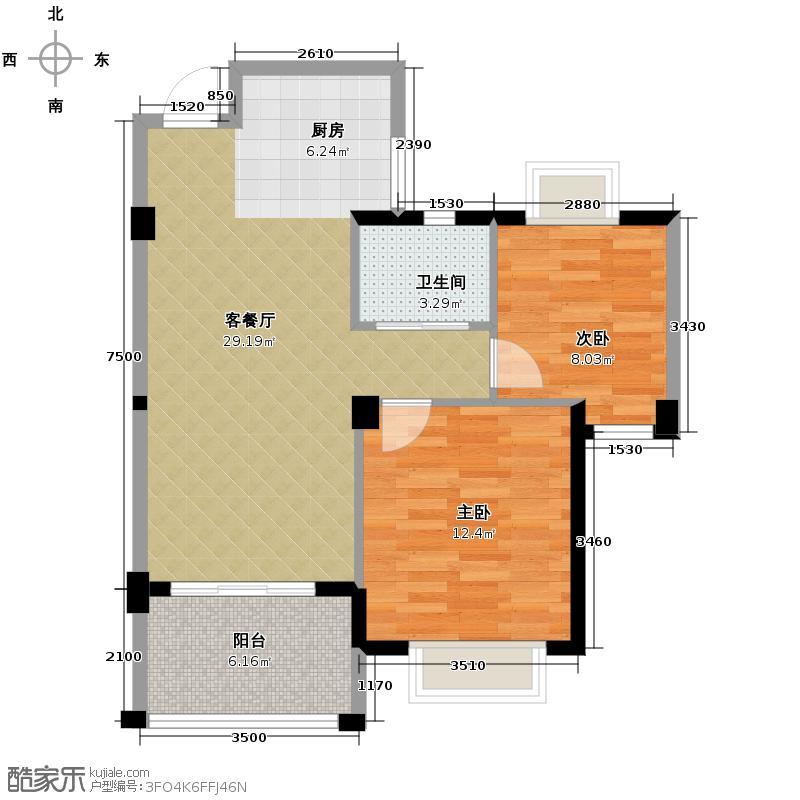 滨江万家星城80.00㎡二期3幢1单元02、03室B户型2室2厅1卫