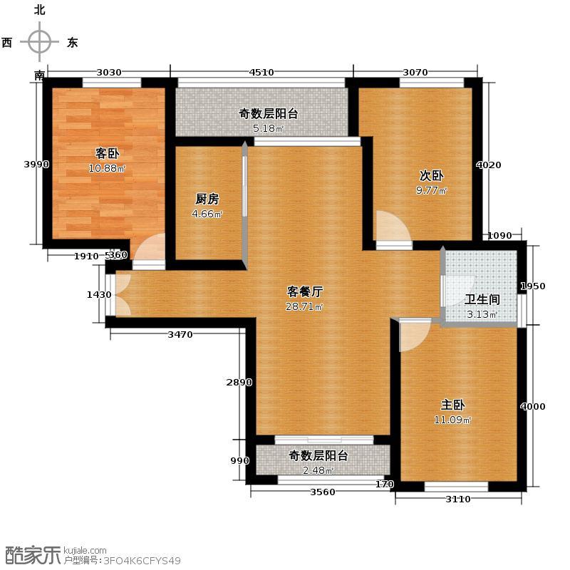 宝能水岸康城89.00㎡H1户型3室2厅1卫