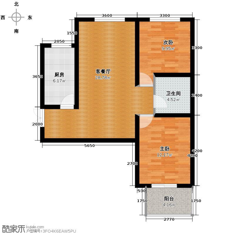 林语兰庭83.14㎡A2户型2室2厅1卫