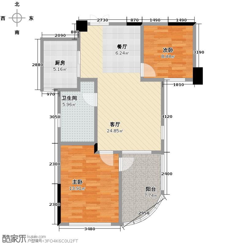 翡翠城73.75㎡竹苑7#B户型10室