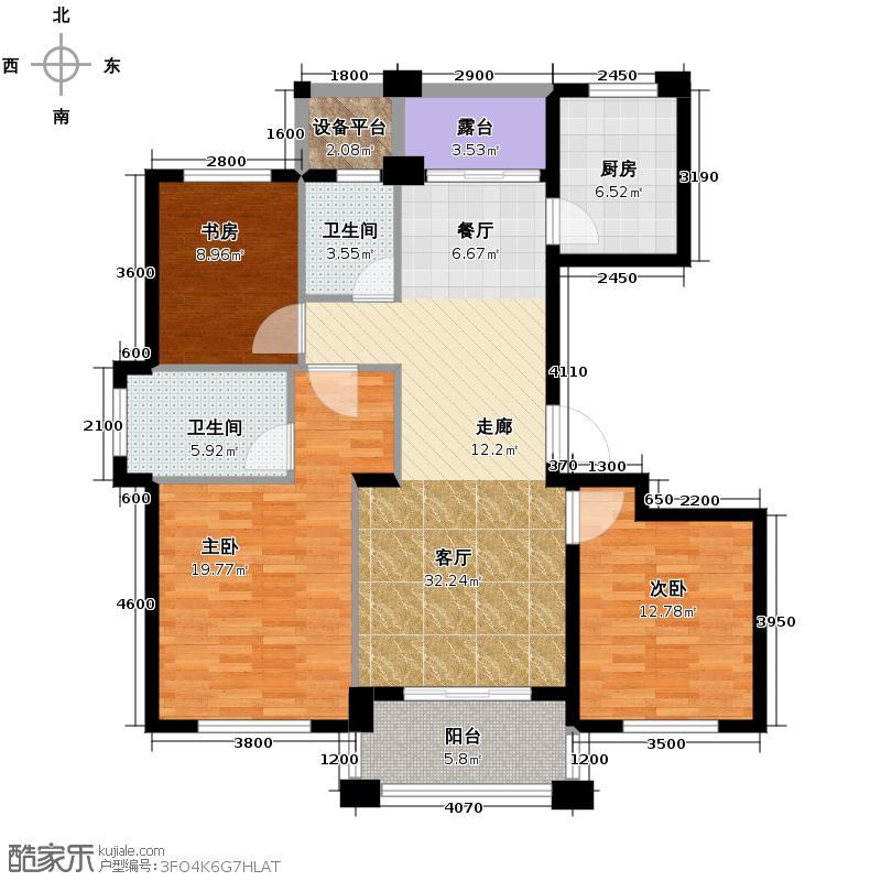 滨江金色黎明124.00㎡W216号楼1单元01室、3单元02室-偶数层户型3室2厅2卫