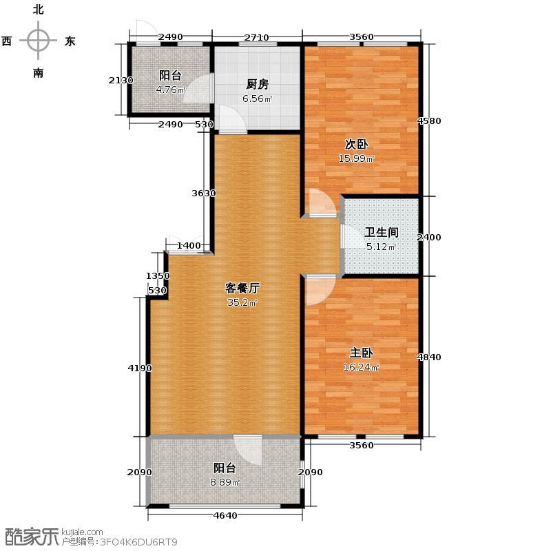 群力玫瑰湾10.00㎡G10预测建筑面积12411至户型2室1厅1卫