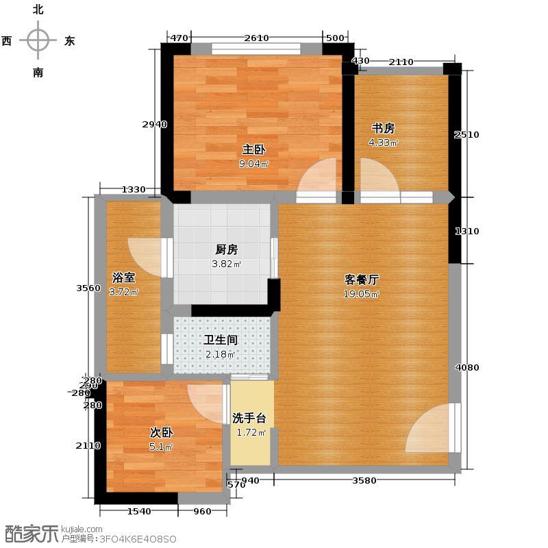 蓝光COCO金沙2期55.00㎡B4户型3室2厅1卫