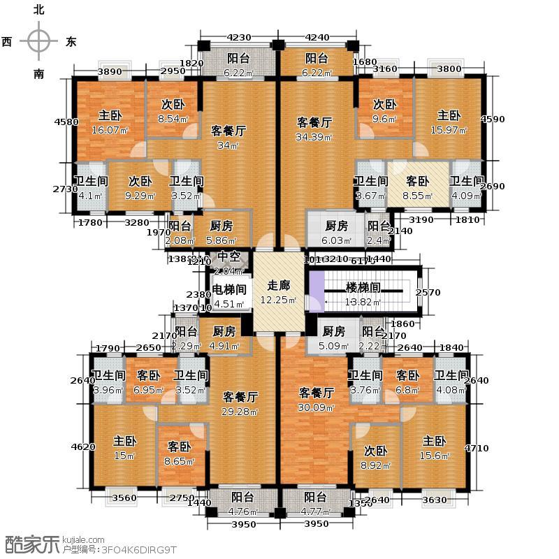 丽南名都423.33㎡5座、7座标准层户型9室4厅8卫4厨