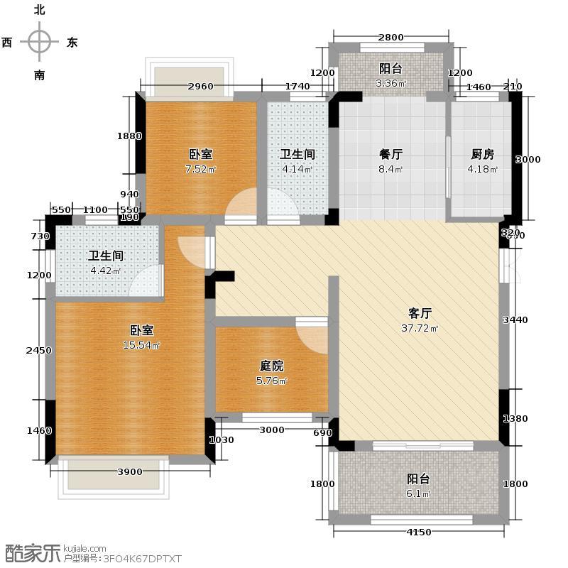 沿海赛洛城103.37㎡双卫加院馆加双阳台户型2室2厅2卫