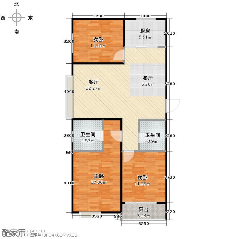 金日丽景二期125.95㎡户型3室2厅2卫