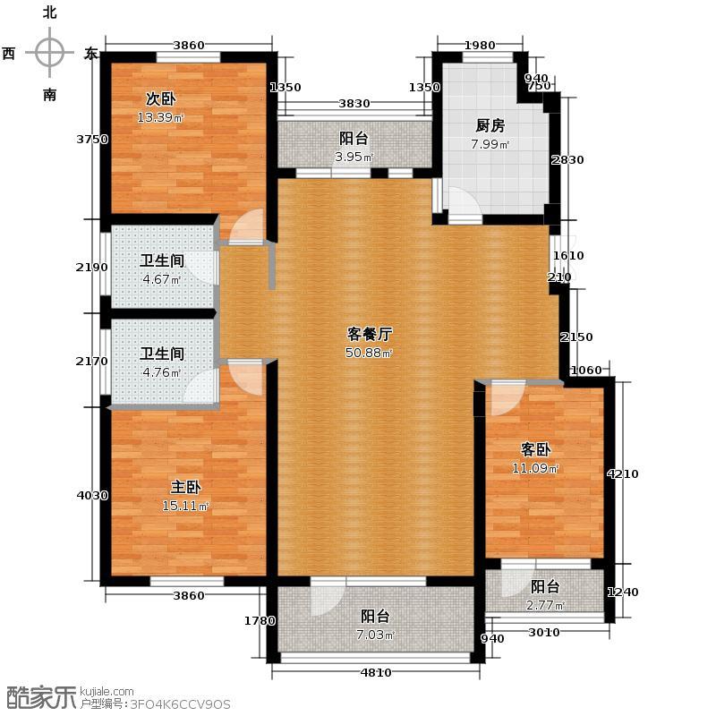 江户雅致143.59㎡B-4户型3室2厅2卫
