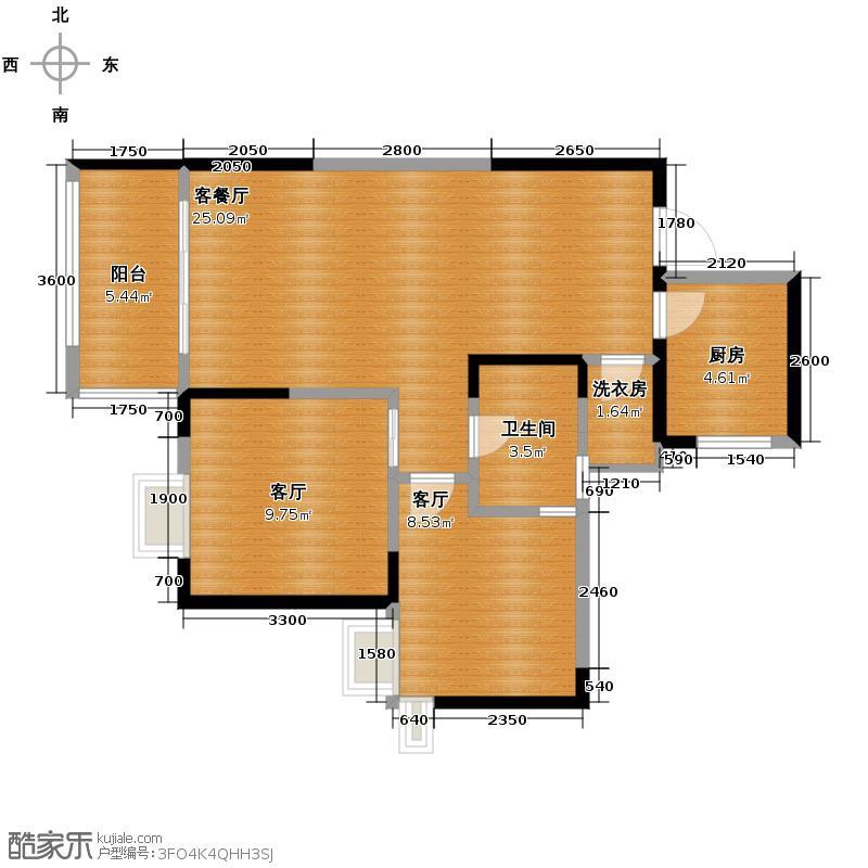 双峰嶺76.00㎡1号楼A-3型户型3厅1卫1厨