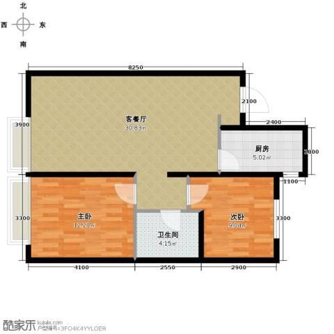 万科城2室1厅1卫1厨89.00㎡户型图