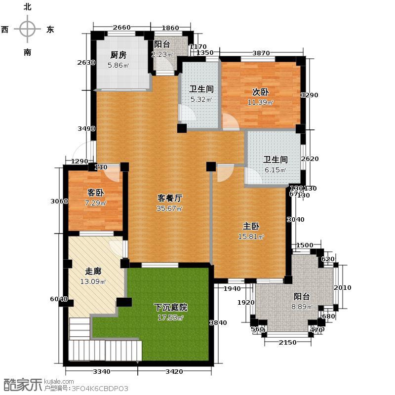 荣安花园146.20㎡户型3室1厅2卫1厨