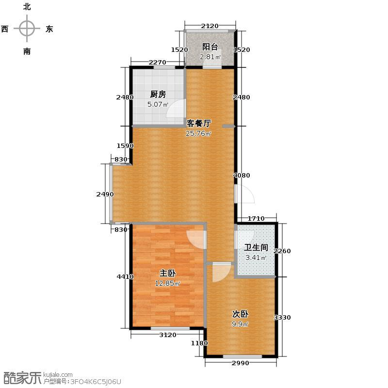塞纳家园88.35㎡户型2室1厅1卫1厨
