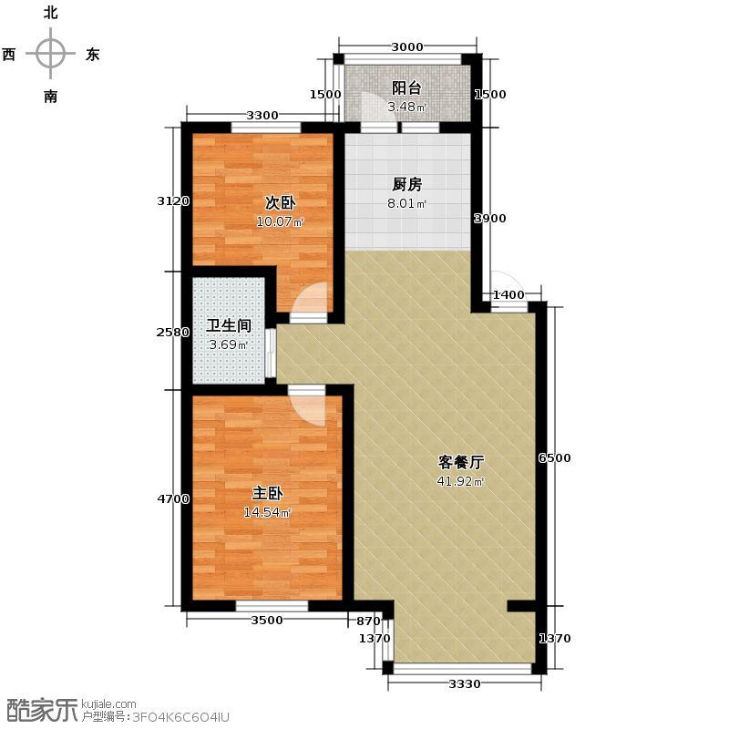 丽江苑98.31㎡户型2室2厅1卫